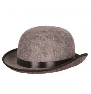 Melone Hut grau Herren Damen Bowler mit Band schwarz Filzhut Karneval Fasching K
