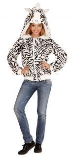 Zebra Kostüm Damen Zebra Jacke Kapuze Ohren Tier-Kostüm Karneval Damen-Kostüm KK