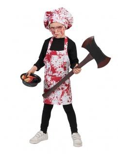 Horror Kostüm Kinder Zombie blutige Schürze Blut Hut KK