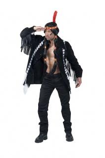 Indianer Kostüm Herren Häuptling Apache Jacke mit Fransen schwarz Fasching KK