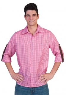 Oktoberfest Hemd Kostüm Trachten pink weiss kariert Herren Bayernhemd Tirol KK