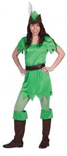Peter Pan Kostüm Damen Bogenschütze Robin Hood Mittelalter mit Stulpen Hut KK