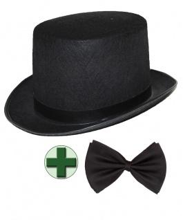 Zylinder-Hut Herren schwarz mit Fliege schwarz für Erwachsene Silvester Karneval