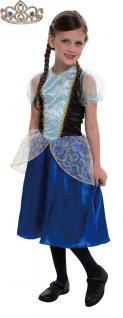 Kinder Geburtstag Party Kostüm Set: Eiskönigin Prinzessin Anna INKL Krone silber