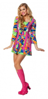 Hippie Kostüm Damen Hippiekleid Flower Power 60er 70er Jahre Karneval Fasching K