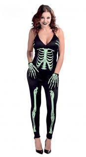Karneval Klamotten Kostüm Skelett Overall Dame Karneval Halloween Damenkostüm