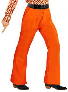 Hippie Hose Herren Kostüm orange Flower Power 70er 80er Jahre Schlaghose KK