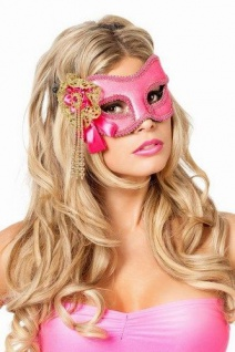 Venezianische Masken Venezianisch rosa gold Augen-Maske Venedig Maskenball KK - Vorschau
