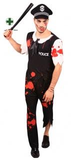blutiges Polizist Kostüm mit Polizeistock Horror Herrenkostüm mit Blut Halloween