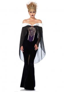 Böse Königin Kostüm Stiefmutter Märchen-Kostüm Luxus Krone Karneval Damen-Kostüm