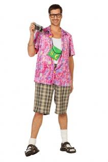Hawaii Kostüm Herren Hawaii Hemd pink bunt Urlauber Tourist Herren-Kostüm KK
