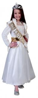 Miss World Kostüm Mädchen Prinzessin-Kleid weiß gold Karneval Fasching KK