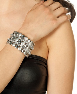 Disco Armband Bling Bling mit Steinchen breiten silberen Armband Party Fasching