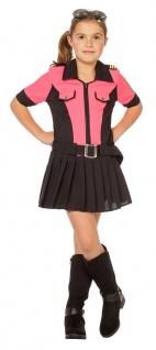 Polizistin Kostüm Polizist Mädchen pink schwarz Kinderkostüm Karneval KK
