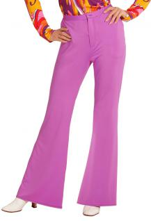 Hippie Hose Damen Kostüm lila Flower Power Hose Damen 70er 80er Jahre Schlaghose