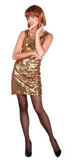 Disco Kostüm Damen 70er 80er Jahre Kleid pailletten gold Karneval Fasching KK