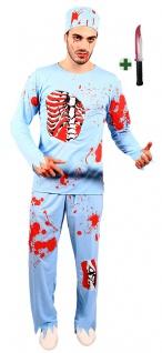 blutiges Doktor Herren Horror-Kostüm mit Blut Messer Zombie Arzt Halloween KK