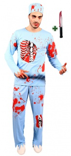 Doktor Herren Horror-Kostüm mit Blut Zombie Arzt mit Messer Halloween-Kostüm KK - Vorschau