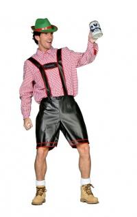 Oktoberfest Lederhose Herren schwarz Kostüm Bayernhose Trachten Herrenkostüm KK