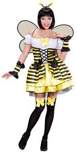Biene Kaja Kostüm Damen sexy Bienen-Kleid Haarreif Fühler Flügel Damenkostüm KK