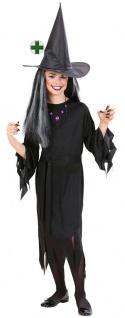 Hexenkostüm Hexe Kinder Mädchen Kostüm Horror schwarz Halloween Hexenhut KK