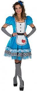 Alice im Wunderland Kostüm Damen Alice-Kleid Herz Märchen-Kostüm Damen-Kostüm