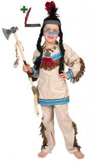 Indianer Kostüm Kinder Jungenkostüm beige blau Stirnband Karneval Fasching KK