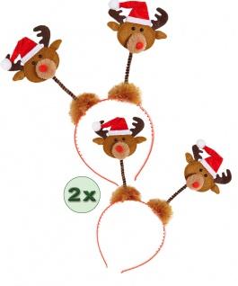 Rentier Haarreif Stirnband Weihnachten Elch-Geweih Weihnachtsfeier 2 St. KK