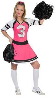 Cheerleader Kostüm Damen pink schwarz weiß Damen-Kostüm Cheerleader-Kleid KK