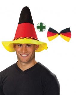 Fan Hut Deutschland Seppl Hut Fliege schwarz rot gold EM WM Fußball 2021 KK