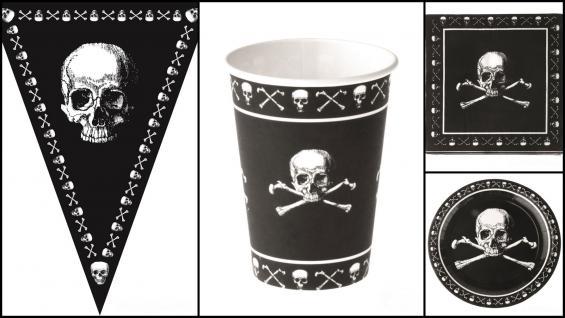 Set Kindergeburtstag Pirat inkl. Girlande 37 Teile schwarz mit Totenköpfen