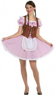 Dirndl Kostüm Damen rosa weiß braun mit Schürze KK