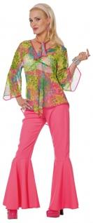 Flower Power Kostüm Damen Schlaghose Hippie-Hemd 60er 70er Jahre Damenkostüm KK