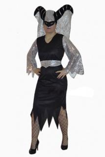 Horror Kostüm Königin der Nacht Kostüm schwarz silber Damenkostüm Halloween KK
