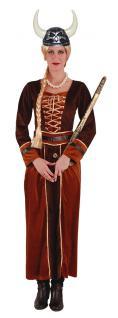 Wikinger-Kostüm Damen lang braun gold Nordmann-Kostüm Wikingerin Damen-Kostüm KK
