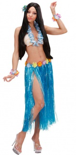 Hawaii Rock Kostüm Karibik Bastrock blau lang Damenkostüm Karneval Sommerparty