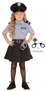 Polizist Kostüm Mädchen Polizistin Kinder Polizei mit Handschellen Fasching KK