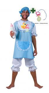 Baby Kostüm Erwachsenen blau mit Mütze Schnuller Herrenkostüm Karneval Fasching