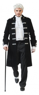 Barock Kostüm Herren Rokoko Herren-Kostüm Mantel Renaissance schwarz silber KK