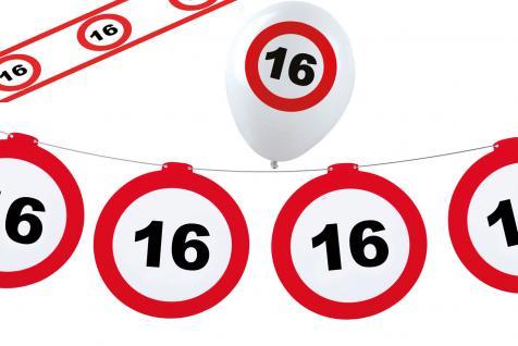 Dekoset Geburtstag Party 16 Jahre Verkehrsschild - Vorschau
