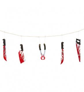Halloween Girlande blutige Werkzeuge Grusel Dekoration KK