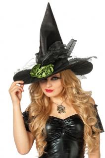 Hexenhut Damen Hut Hexe mit Federn und Blume Erwachsene Halloween Hexer Fasching