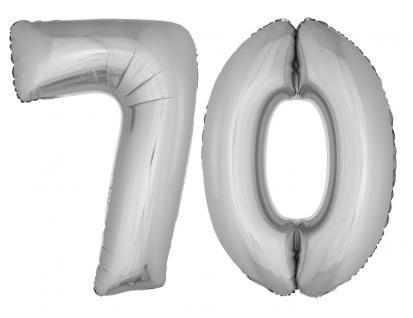 Folienballons Luftballon-SetXXL Zahl Geburtstag 70 Jahre silber Party Dekoration