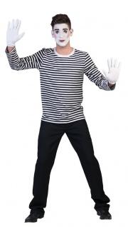 Pierrot Clown Kostüm Harlekin Pantomime Herren Damen Shirt schwarz weiß Fasching