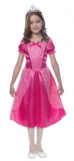 Kinder Geburtstag Party Kostüm Set: Prinzessin Mädchen Kleid rosa-pink + Krone
