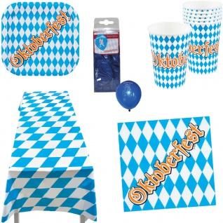 Oktober-Fest Deko Party Set Teller Becher Servietten Tischdecke Ballons 37 Tlg K
