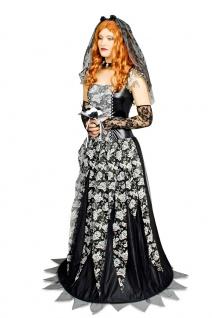 Gothic Braut Kostüm Damen Horror Brautkleid schwarze Witwe Halloween-Kostüm KK