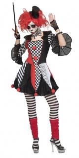 Horror Clown Harlekin Kostüm böser Killerclown Damen Halloween Fasching KK