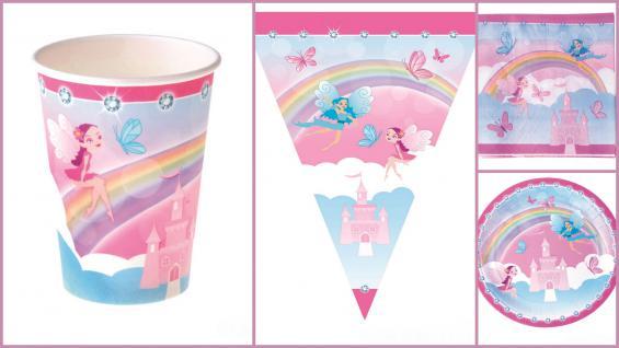Set Kindergeburtstag Fee Prinzessin inkl. Girlande 37 Teile rosa blau