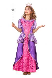 Kinder Geburtstag Party Kostüm Set: Prinzessin Kleid pink-lila INKL. Feenstab